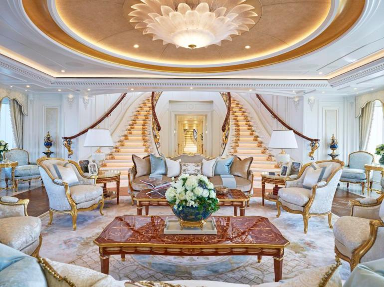 The opulent interior of the largest yacht at the 2019 Monaco Yacht Show