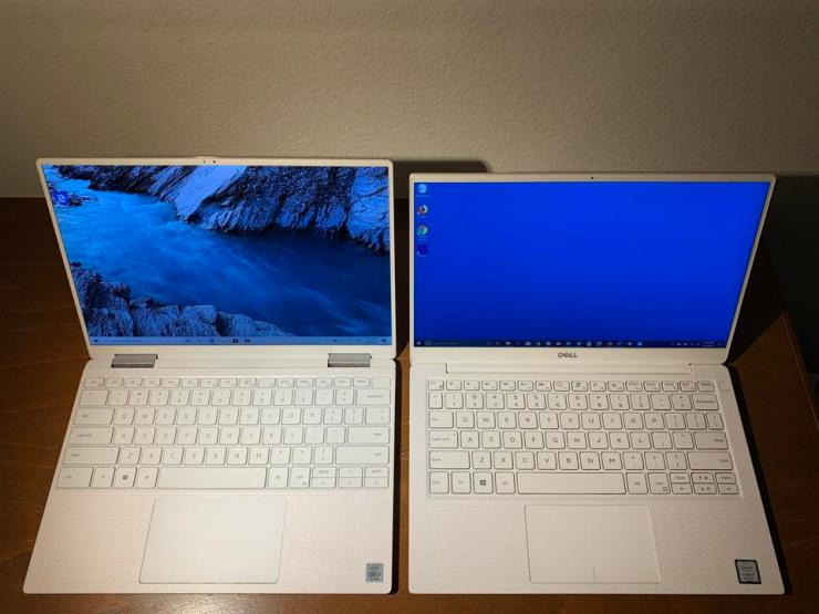 Late-2019 Dell XPS 13 2-in-1 7390 (left) and XPS 13 9380.