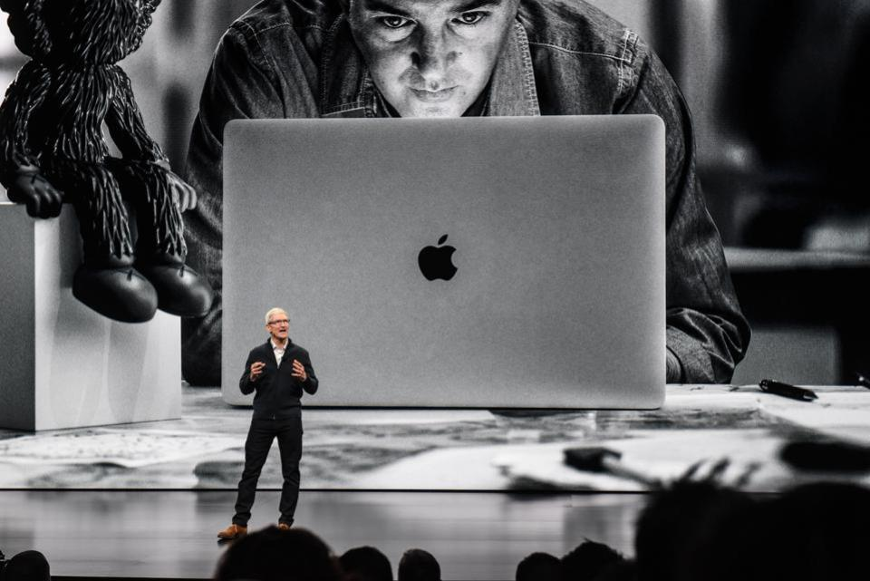 NEW YORK, NY - OCTOBER 30: Tim Cook, CEO of Apple unveils a new MacBook Air during a launch event at ... [+] GETTY IMAGES