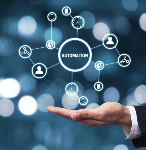 Artificial Intelligence: Business concept. Improving productivity, reliability and business processes. Automation concept