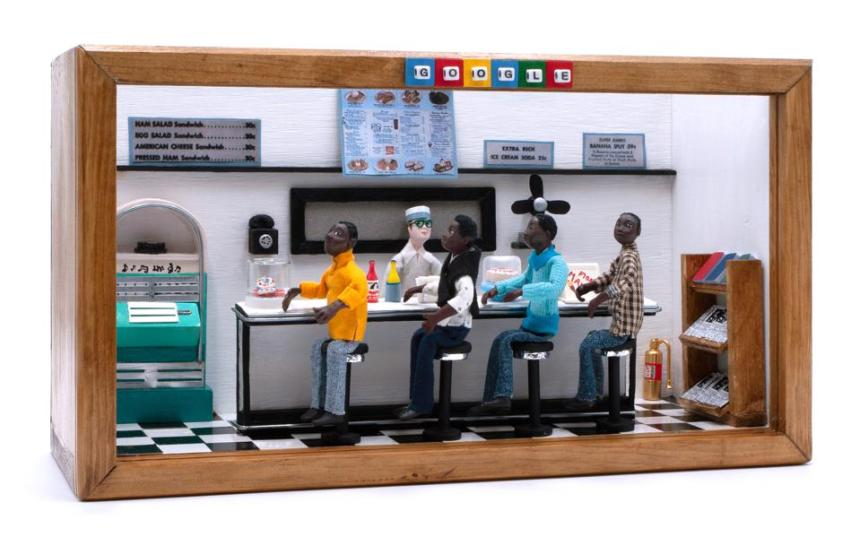 The Google Doodle diorama honoring the 60th anniversary of the Greensboro sit-in