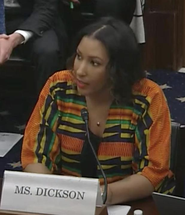 Dawn Dickson, founder and CEO of PopCom, testifying at a US Small Business Committee hearing. USA March 4 called 'Building Blocks of Change: How Small Businesses Can Benefit From Blockchain Technology'