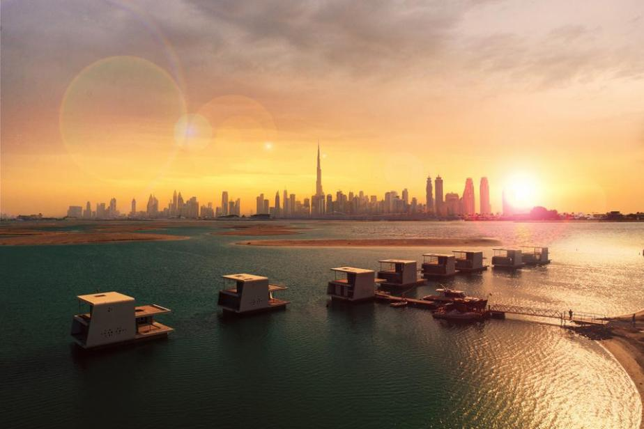 Floating Seahorse Villas and skyline