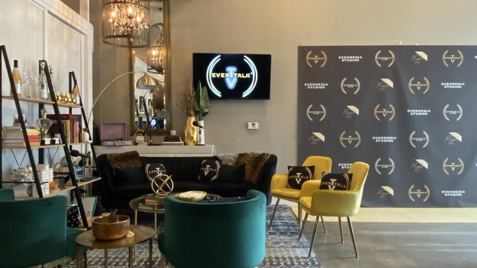 Step and repeat and waiting area