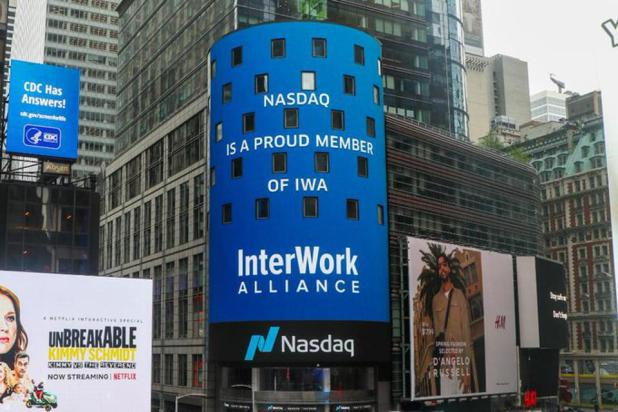 Blockchain: Nasdaq Sign On Times Square Indicating The Joining of the InterWork Alliance