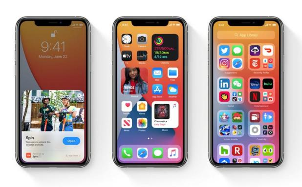 Screenshot of new capabilities of Apple's iOS 14 mobile operating system.