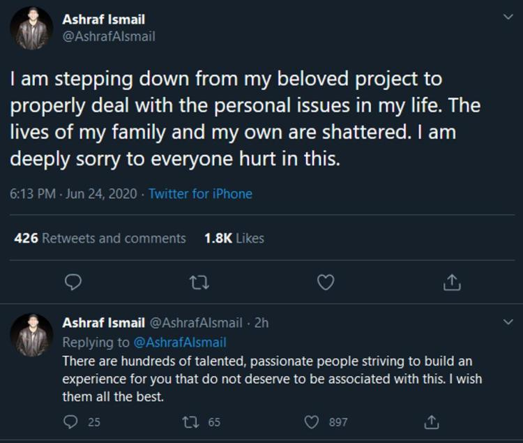 Ashraf Ismail's now-deleted announcement he is stepping down from Ubisoft Montreal.