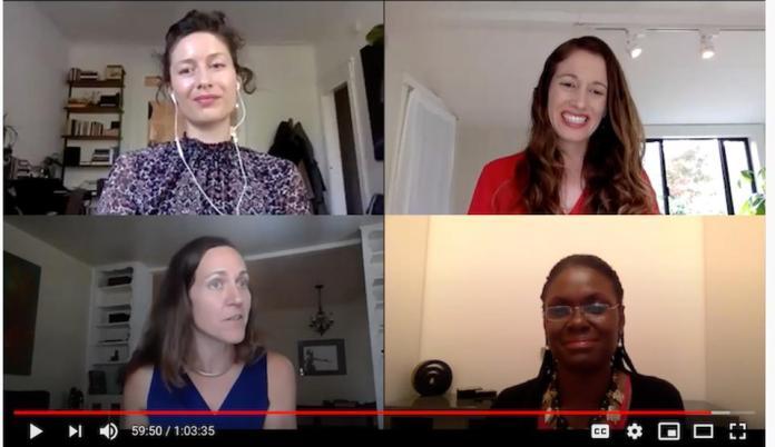 Four women speaking on a webinar