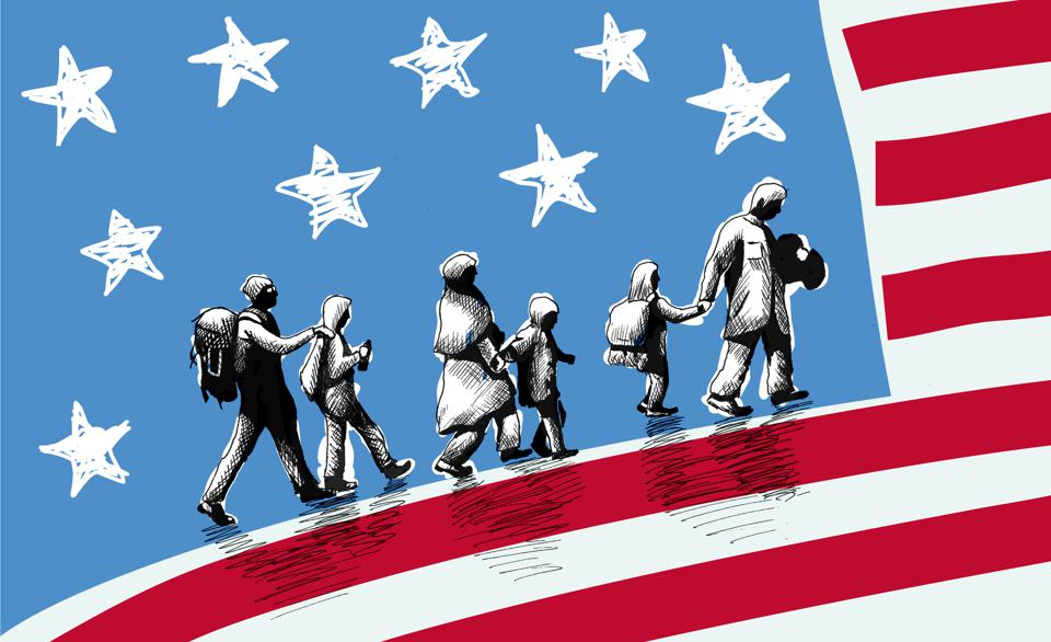 Illustration of USA immigration