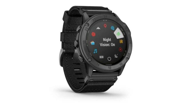 A front view of the Garmin Tactix Delta watch.