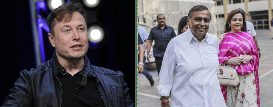 Elon Musk and Mukesh Ambani