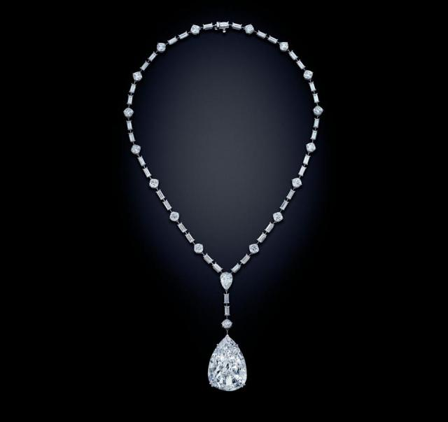 Platinum necklace with a 49.81-carat pear-shaped, diamond. Estimate: $1.8 - $2.6 million