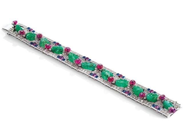 Cartier Tutti-Frutti bracelet, circa 1930, with an estimate of $212,182 - $318,274