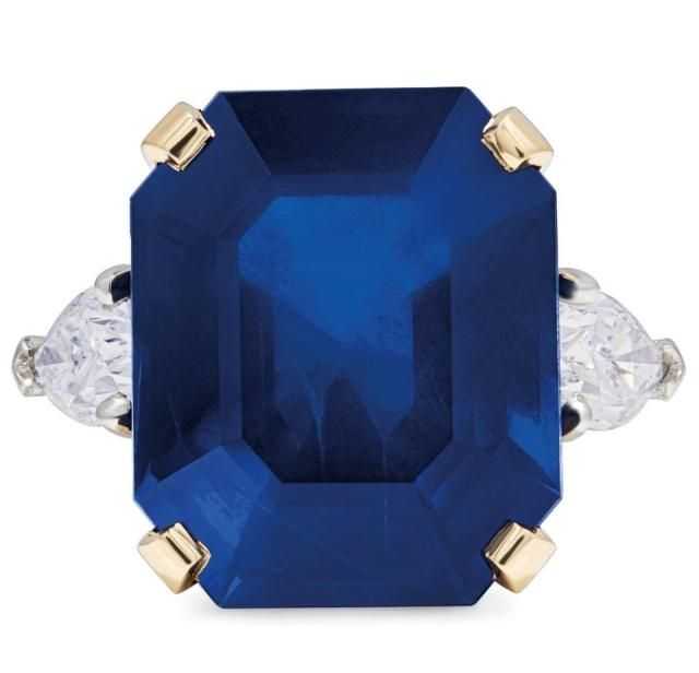 A ring by Bulgari with a 20.84-carat Burmese sapphire. Estimate, $159,137 - $212,182