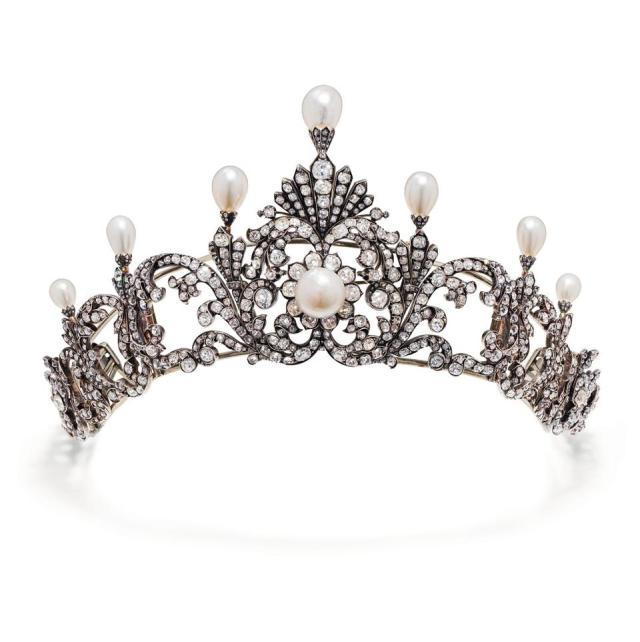An 1890s tiara with natural saltwater pearls and diamonds. Estimate: $95,482 - $137,918