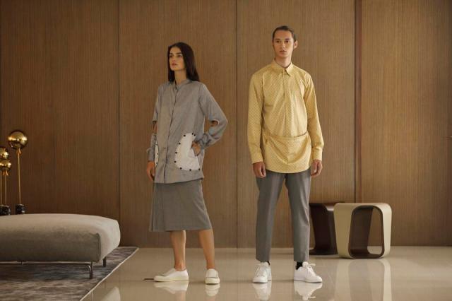 Ivaraseron proposes genderless dressing via ultra structured tops for both men and women.
