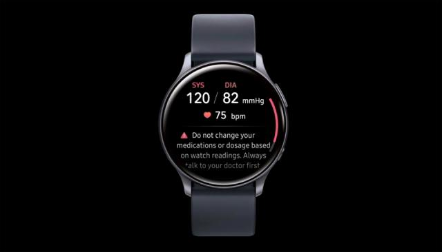 The Galaxy Watch Active 2's blood pressure application.