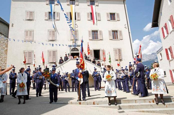 Swiss National Day celebrations in Crans-Montana Valais Switzerland