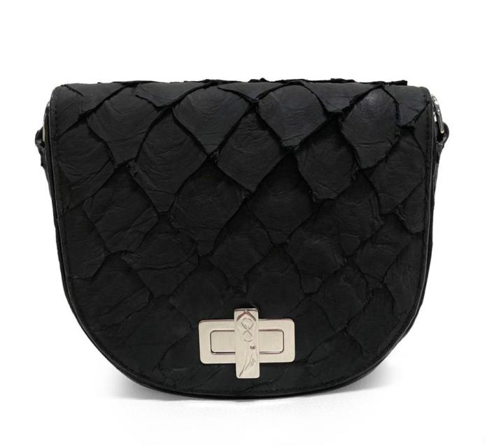 Black fish skin clutch sourced in the Amazon with a silver buckle