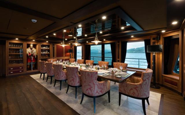 Dining area on the Burgess charter explorer yacht Ragnar