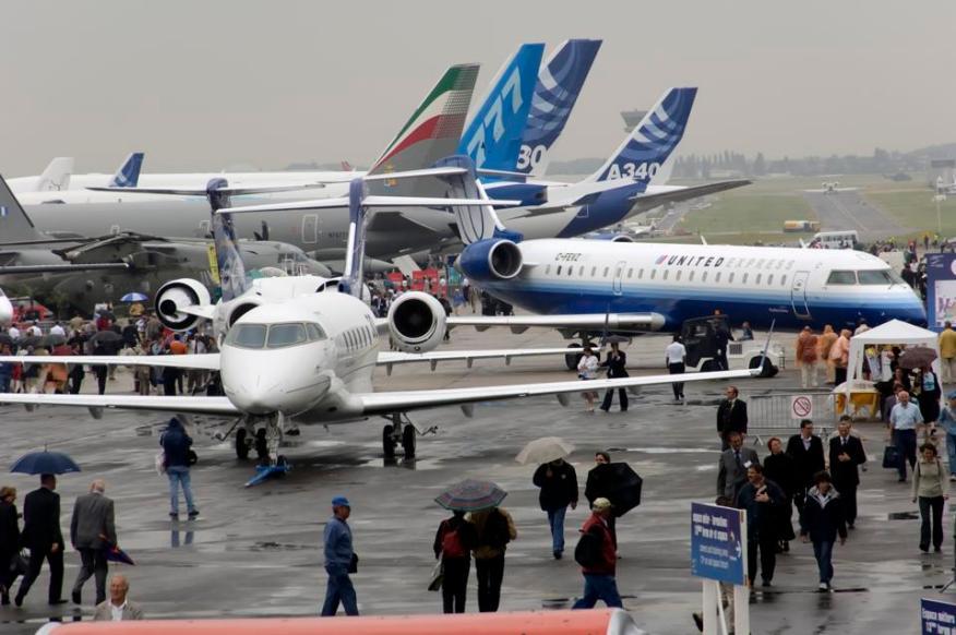 Airbus y Boeing aicraft en Paris Air Show