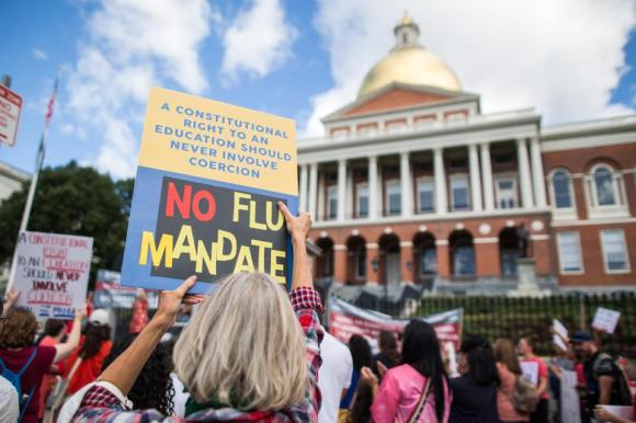 Anti-Vaccine Activists Protest In Front Of Massachusetts State House