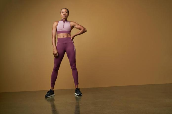 Allyson Felix wearing the Allyson Felix + Athleta collection