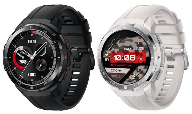 A composite of two Honor Watch GS Pro promo images.