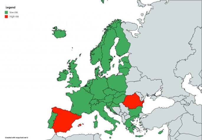 Czech Republics Green Red covid risk zones and destinations for travel in Europe