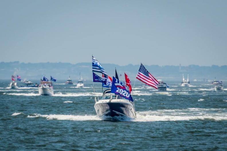 Team Deplorable Boat leading the flotilla. A group called...