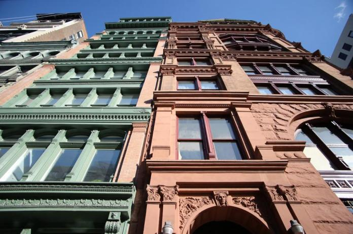 Bleecker Tower, view from the west at Broadway and Bleecker Street, in Soho, Manhattan, New York City, USA