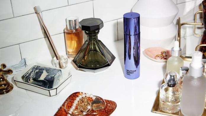 MUTHA Body Oil on vanity