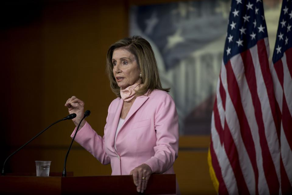 Nancy Pelosi Holds Her Weekly Press Conference At The U.S. Capitol