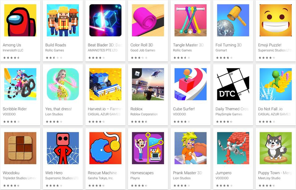 The top free games currently at Google Play, the Android app store from Google