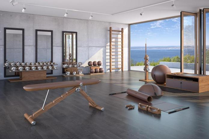 An indoor-outdoor gym with PENT Fitness' collection of workout equipment.