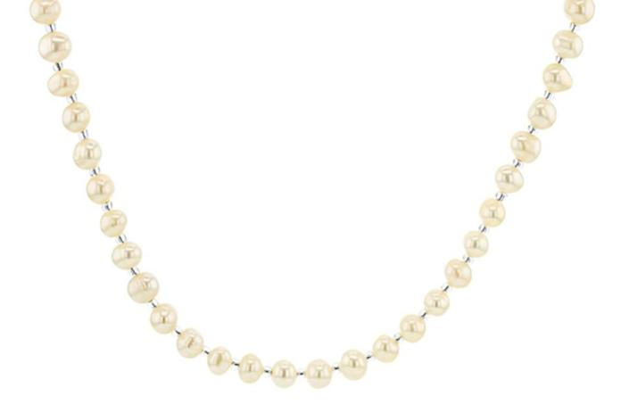 JTV White Cultured Freshwater Pearl and Glass Seed Bead Eyeglass and Mask Chain