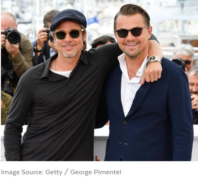 Brad Pitt wears his go-to Calabar sunglasses by GLCO & Leonardo DiCaprio wears GLCO's Beach sunglasses at Cannes Film Festival in May 2019