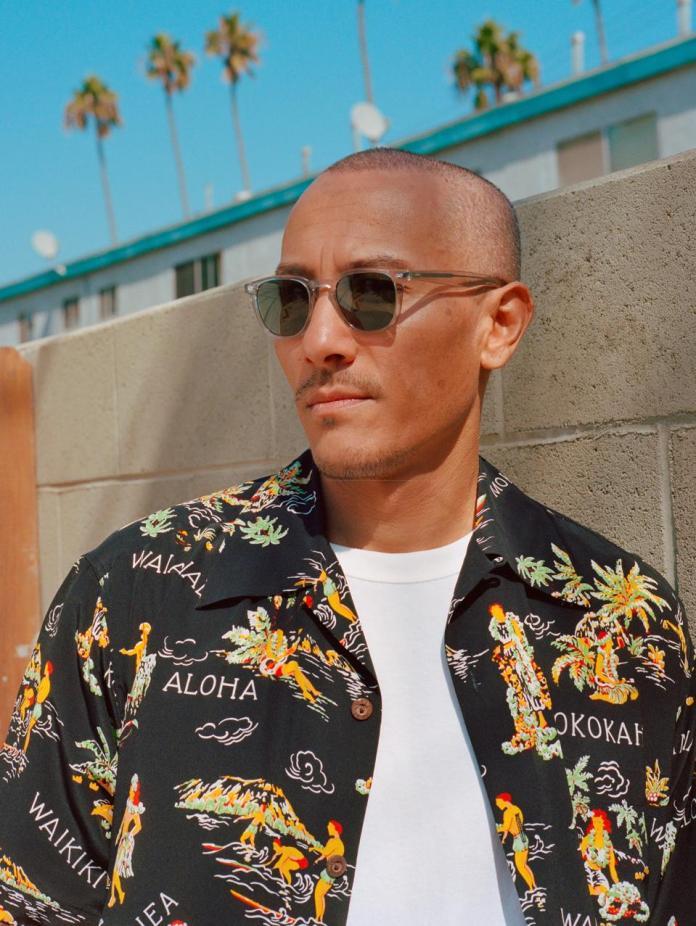 Osamu Nishimura, DJ & Friend of GLCO, wears the GLCO Brooks X sunglasses in the GLCO '10 Years of Vision' campaign for the brand's 10-year milestone in 2020_Ph