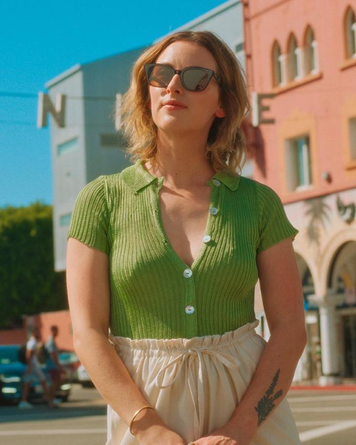 Head of Design for GLCO, Elena Doukas, wears the GLCO x Clare V. Nouvelle sunglasses for the GLCO 10 Years of Vision Campaign in 2020