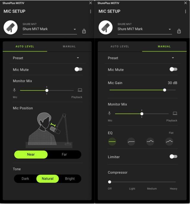 Screengrab of Shure MOTIV Audio software