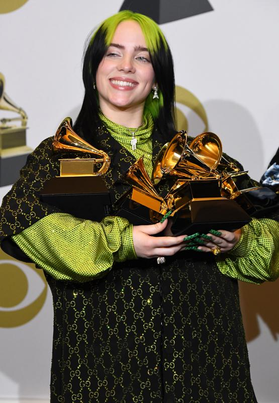 Billie Eilish, with all of her awards, at 62nd Annual GRAMMY Awards in January