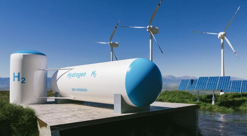 Renewable energy facilitates green hydrogen production.