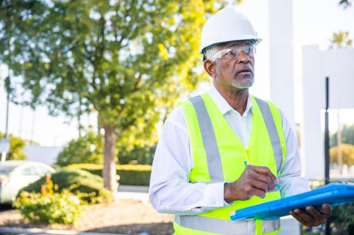 Senior Black Man Construction Manager Inspection