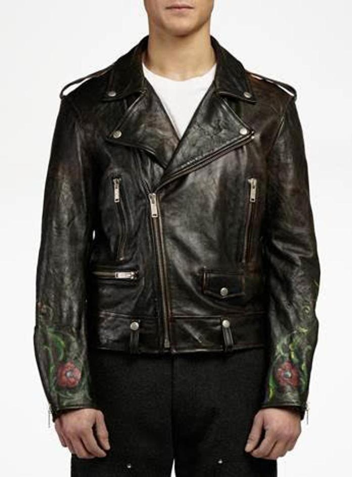 Golden Goose Arden leather biker jacket with hand-painted details