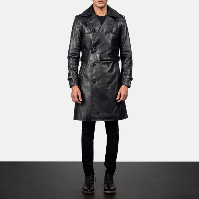 Royson Black Leather Duster Coat