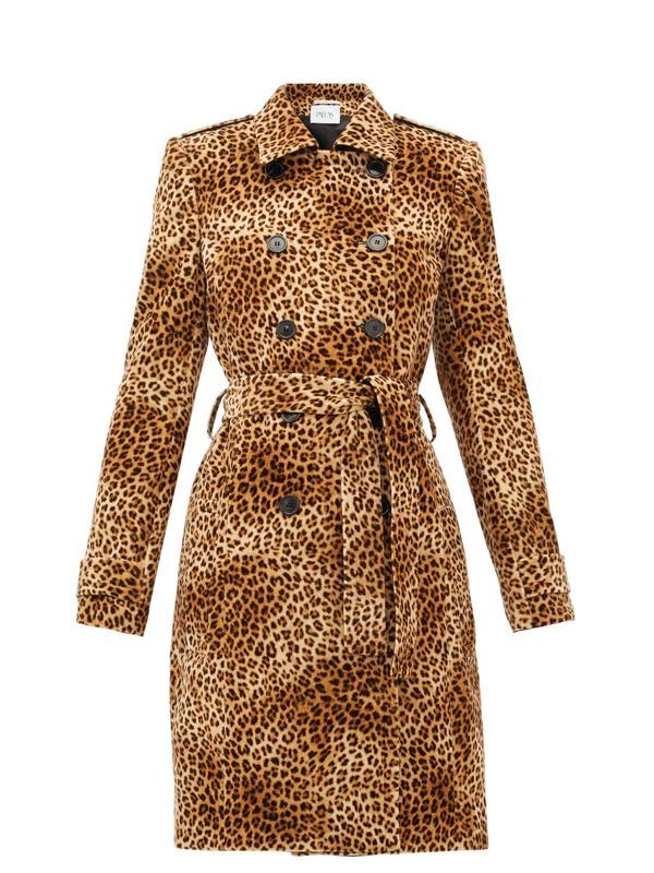 Fairbanks Leopard-Print Velvet Trench Coat by PALLAS PARIS