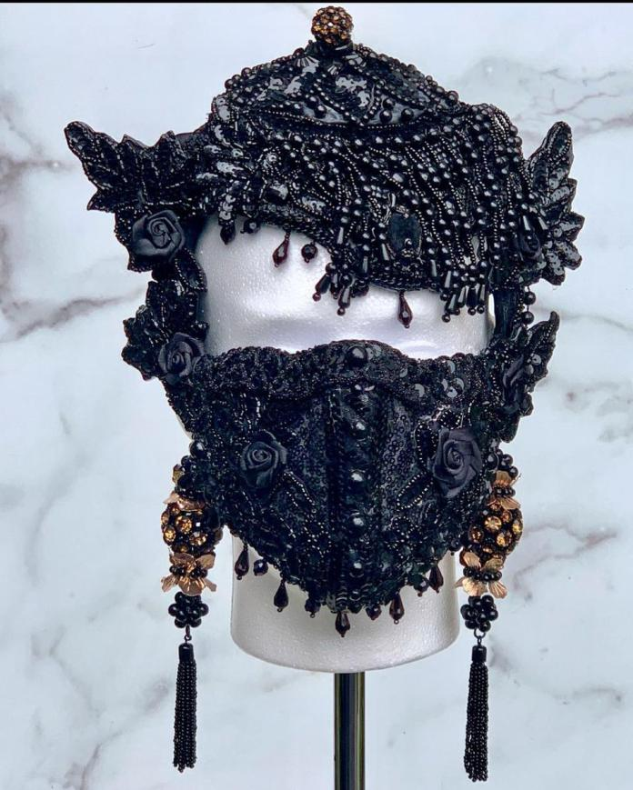 A first-runner up mask design by Camisha Jackson of the Lunaversoul