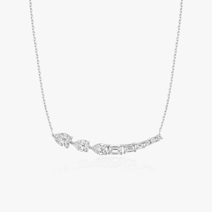 VRAI's Neptune Floating Necklace is crafted with the finest selection of sustainably created diamonds and recycled white gold.
