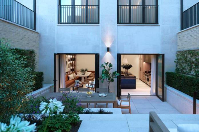 Private courtyard at Three Mulberry, London luxury real estate