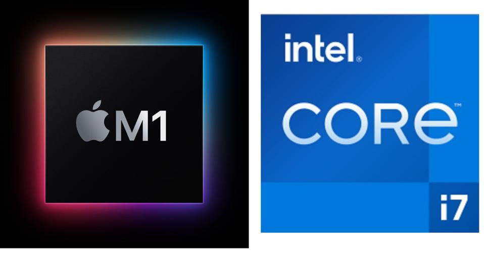 """Apple M1 processor vs Intel Core i7 """"Tiger Lake""""."""